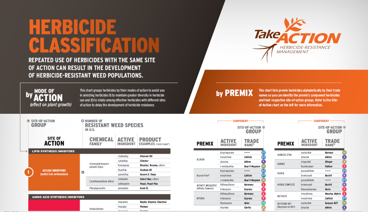 Partial image of Take Action on Weeds herbicide selection chart