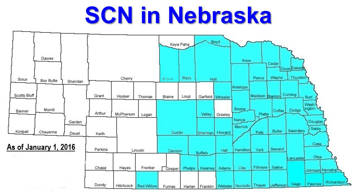 Map showing distribution of SCN in Nebraska