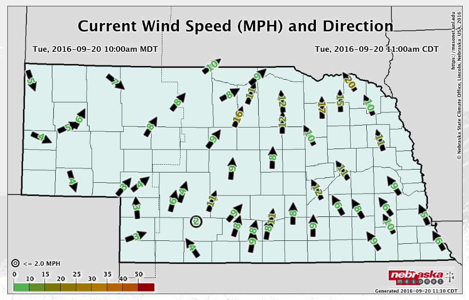 Nebraska wind speed and direction map