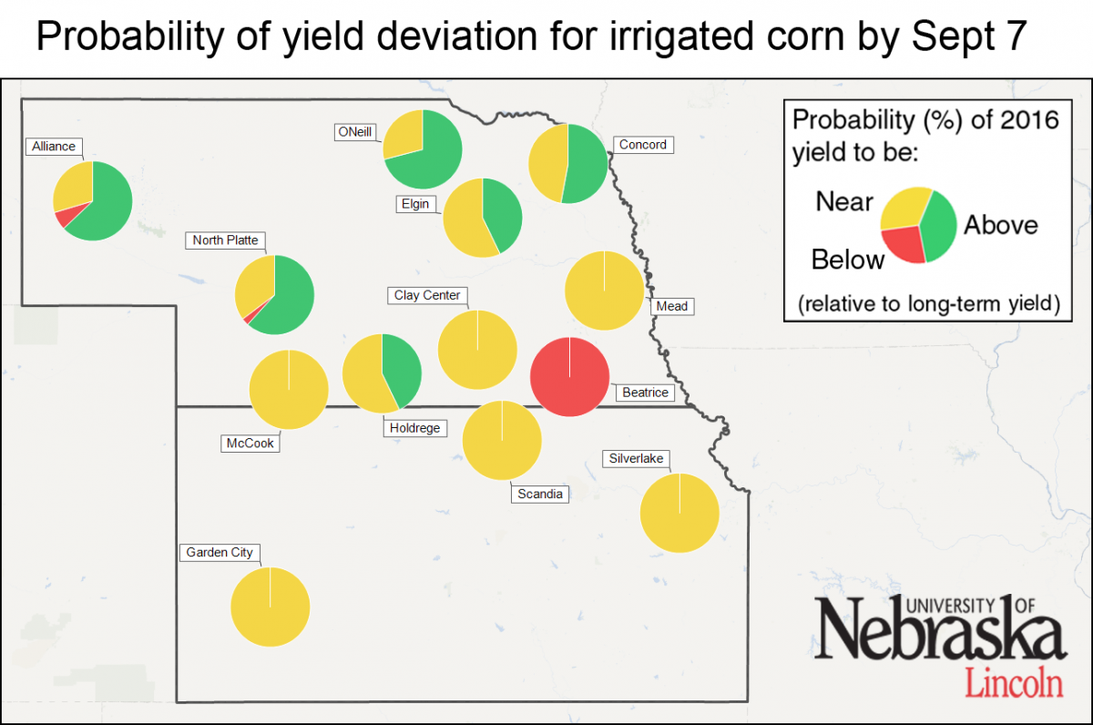 Map indicating probability of yield deviation for irrigated corn July 13