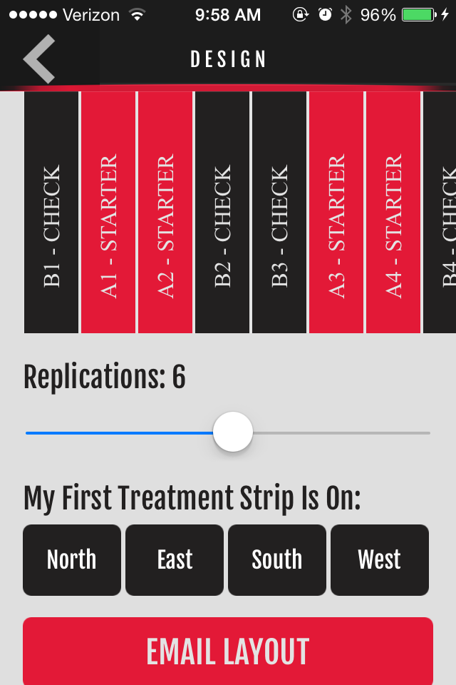Sample layout design from the Nebraska On-Farm Research app