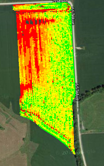 Yield map showing field variability