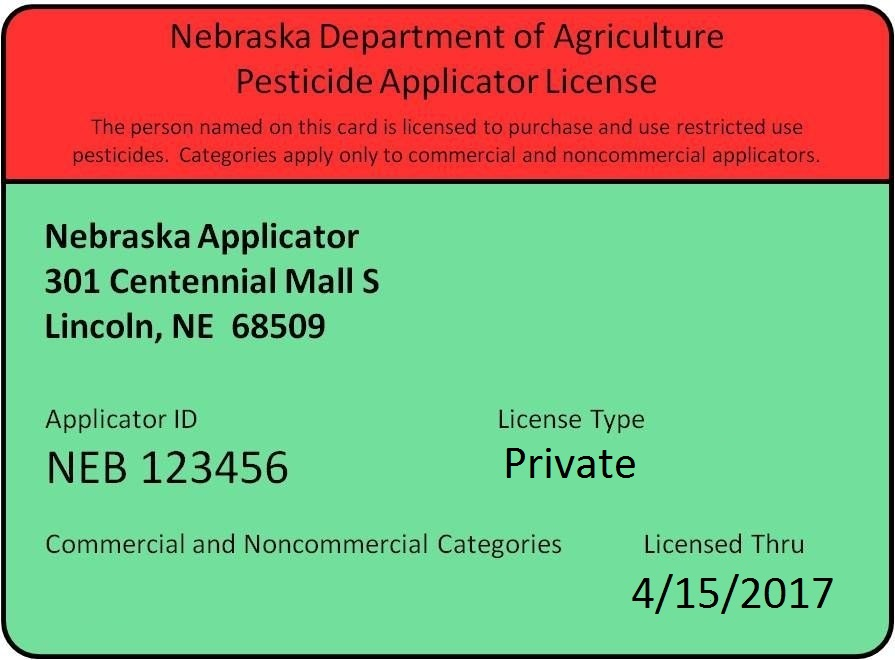 Commercial pesticide applicator sample certificate