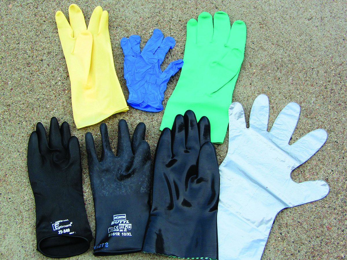 Gloves recommended when applying pesticides