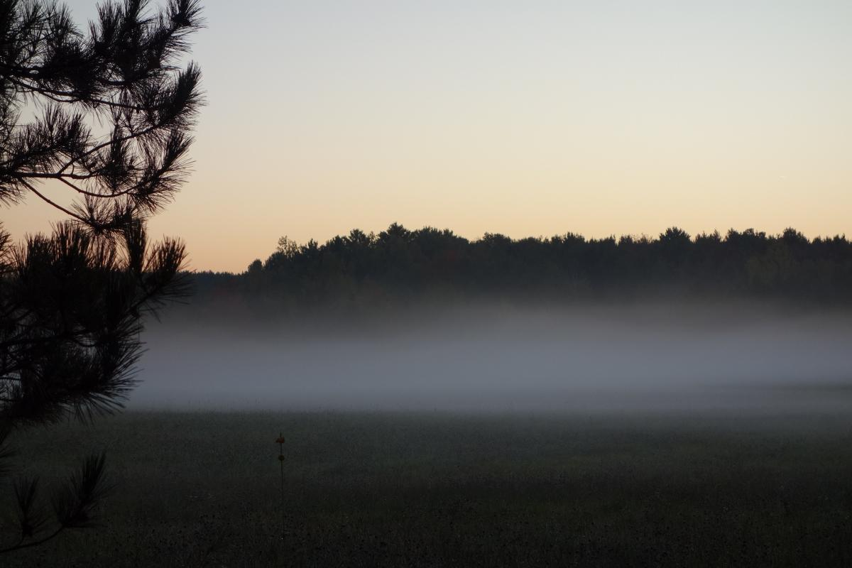 Low-lying fog indicating a temperature inversion