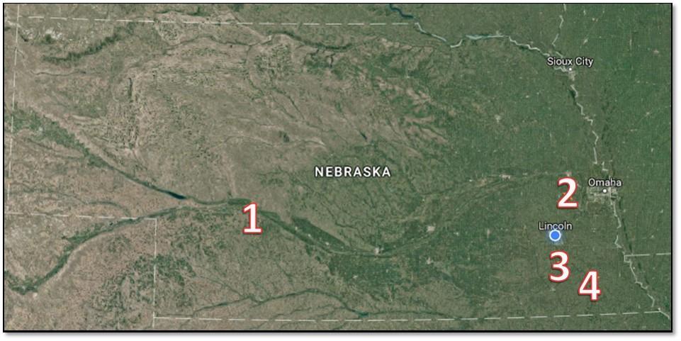 Sites On A Nebraska Map