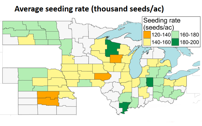 Map of soybean average seeding rate