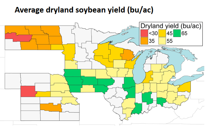 Map of north central region average soybean yield