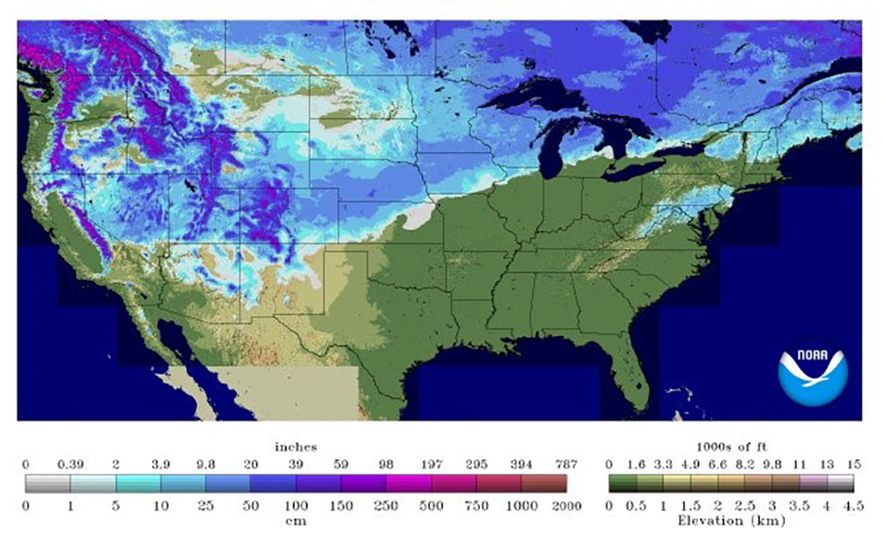 Snow depth Feb 4 2016