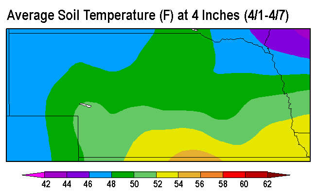 Map of average soil temperatures April 1-7, 2016