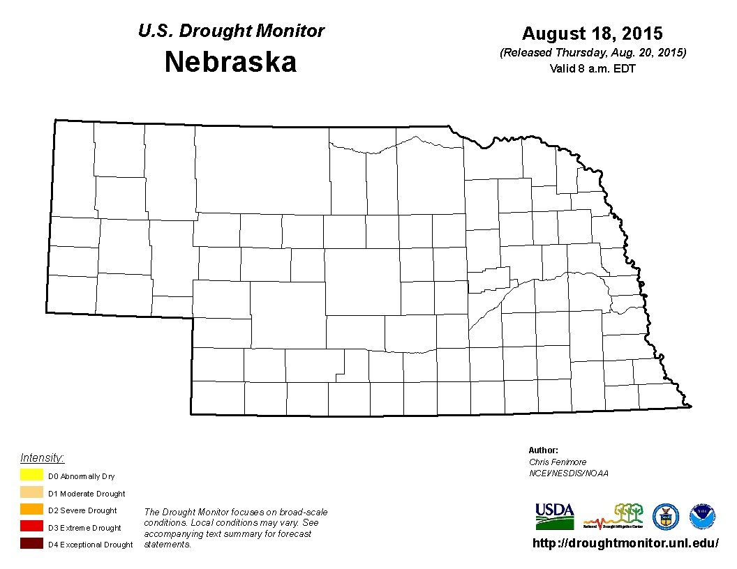 August 2015 Nebraska drought monitor