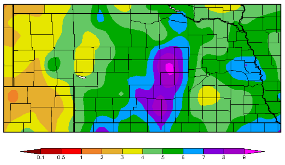 Nebraska map showing April 2016 precipitation amounts