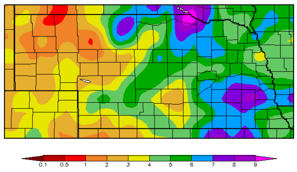Nebraska map showing May 2016 precipitation amounts