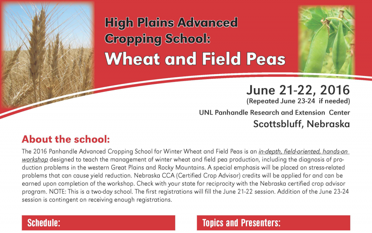 Brochure for Wheat and Field Pea Cropping School