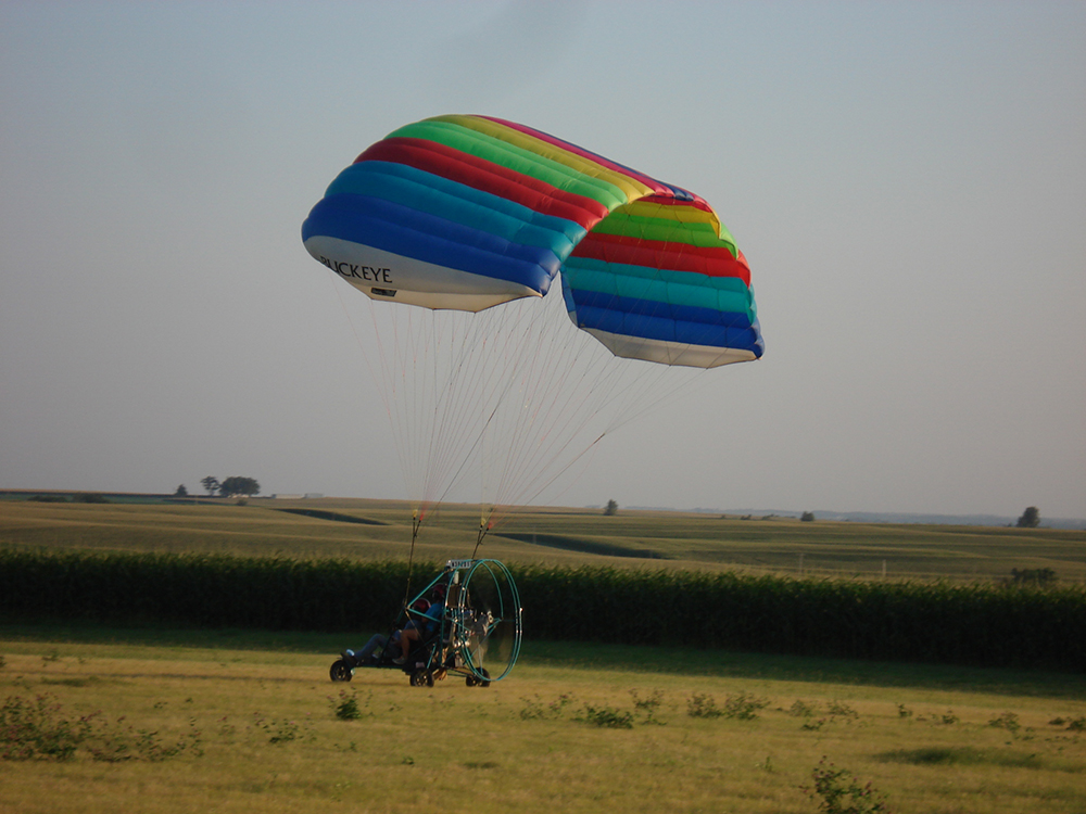 Dean Stevens and his powered parachute