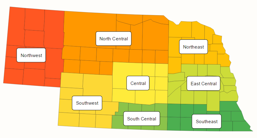 Map of Nebraska crop reporting districts