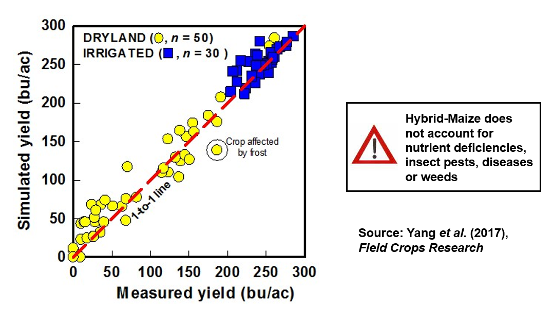 Graph showing validation of Hybrid Maize simulations