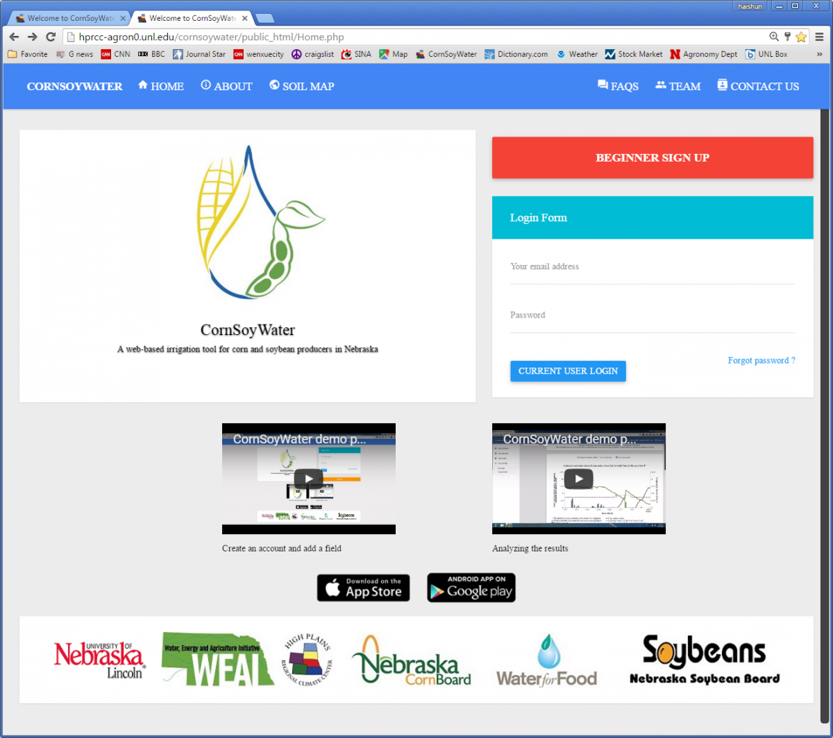 CornSoyWater home page