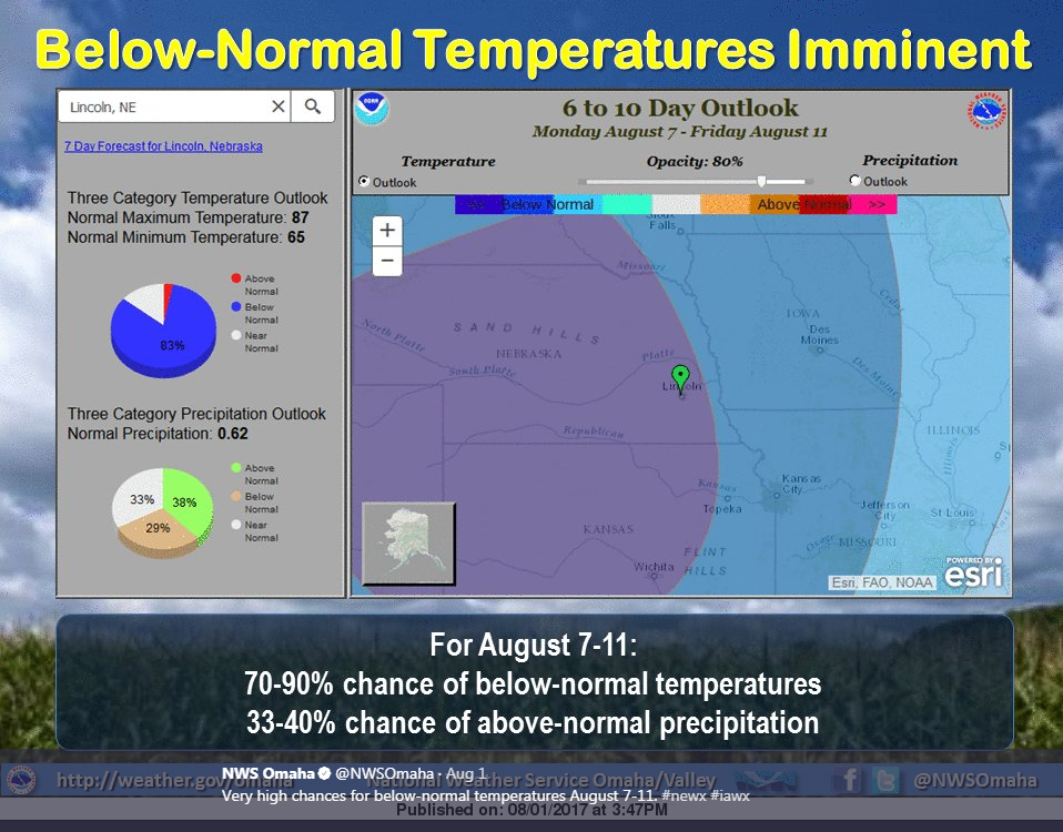 Map of NWS-Omaha prediction for below normal temperatures