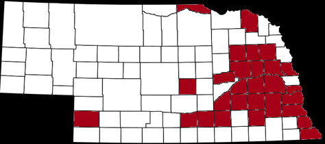 Nebraska map showing home counties of respondents