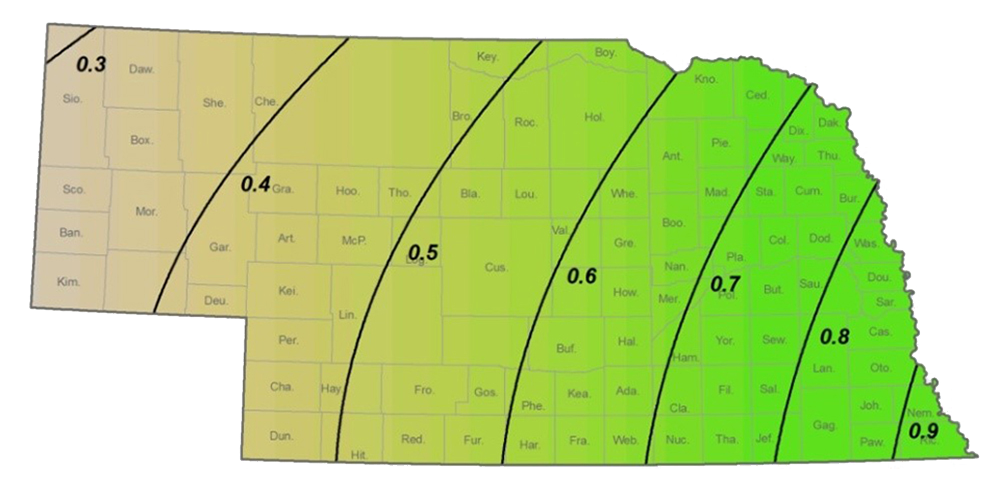 Average August precipitation in Nebraska