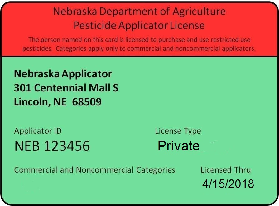 Sample private pesticide applicator card