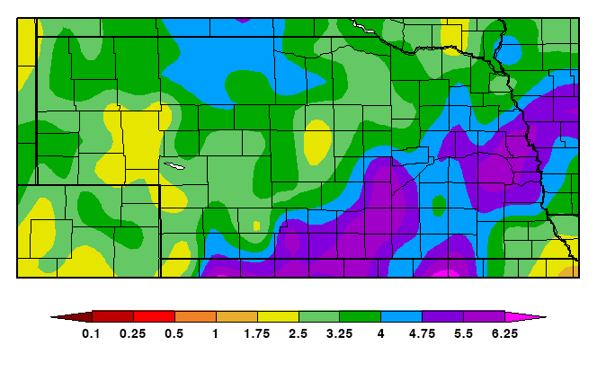 Map of precipitation in Nebraska