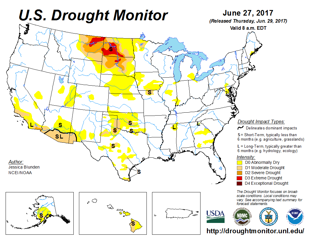 US Drought Monitor Map for June 27, 2017