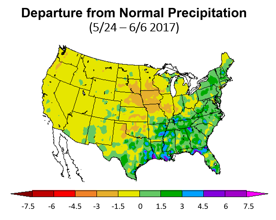 US map showing departure from normal precipitation