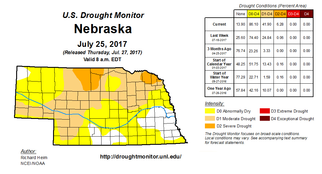 Map of Nebraska drought conditions as of July 25, 2017