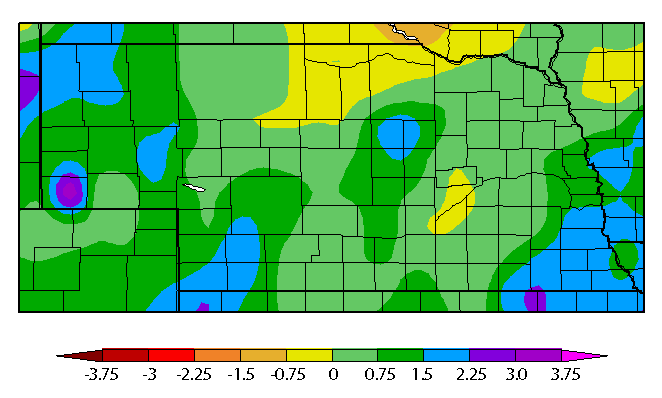 Departure from normal precipitation March 20 to April 3, 2017