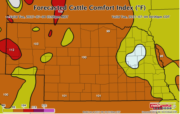Forecasted Cattle Comfort Index for July 4