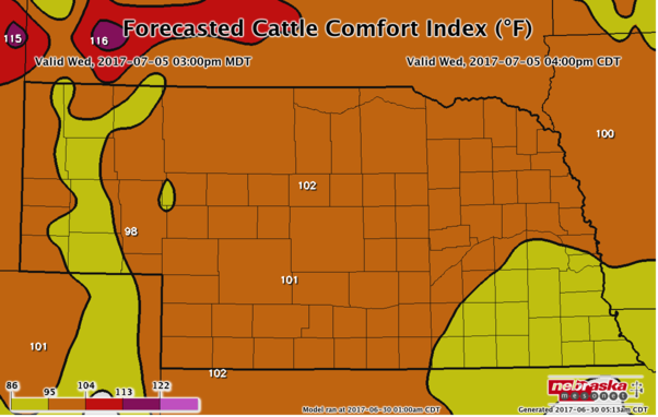 Forecasted Cattle Comfort Index for July 5