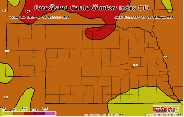 Forecasted Cattle Comfort Index for July 6