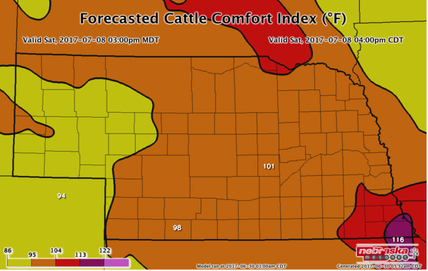 Forecasted Cattle Comfort Index