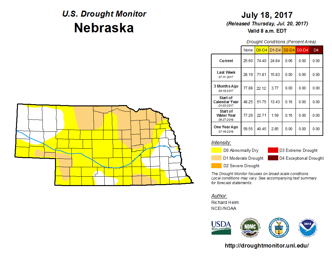 drought monitor for July 18, 2017