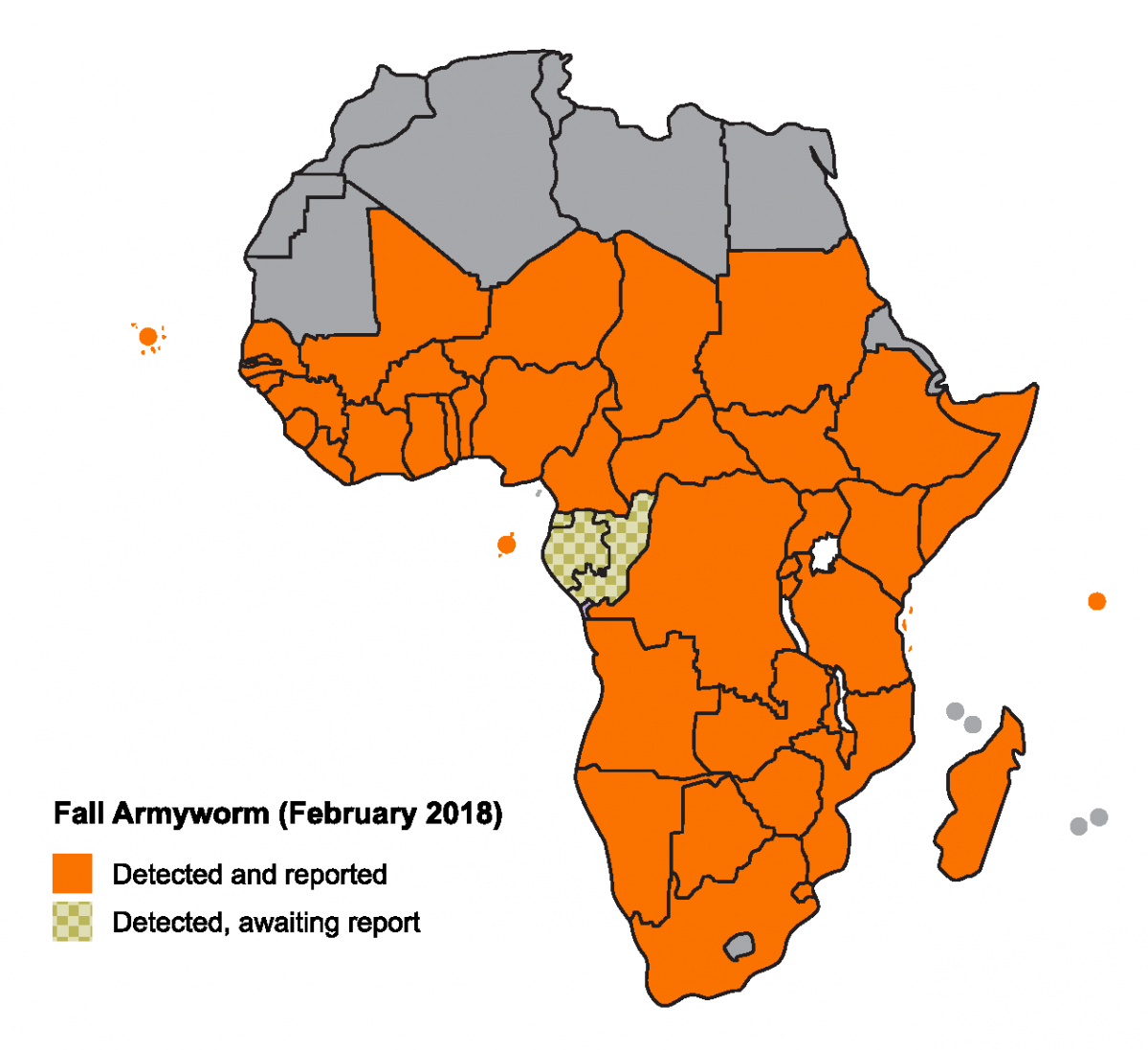 Map of Africa showing extent of fall armyworm