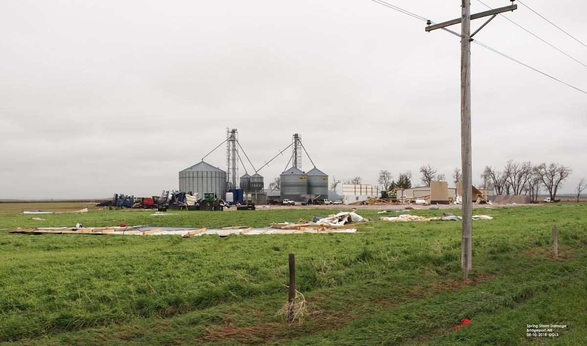 High wind property damage to a farmstead