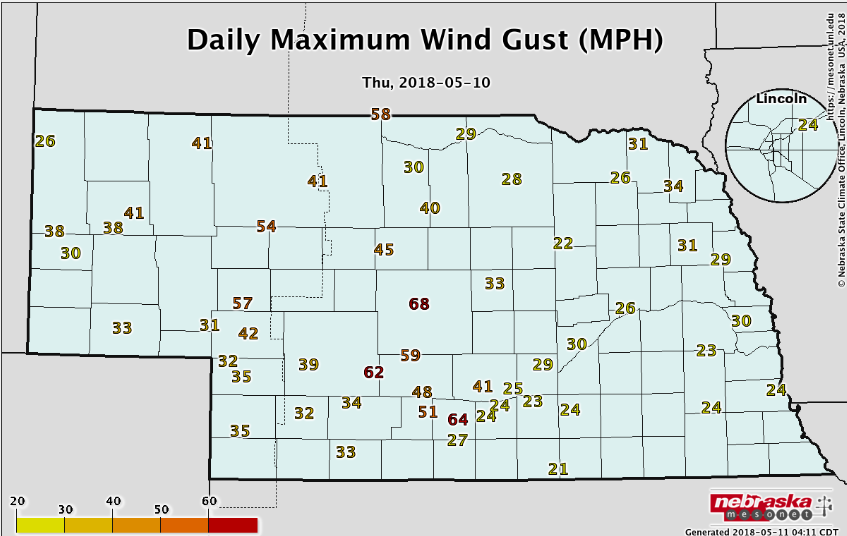 Nebraska map of wind gusts