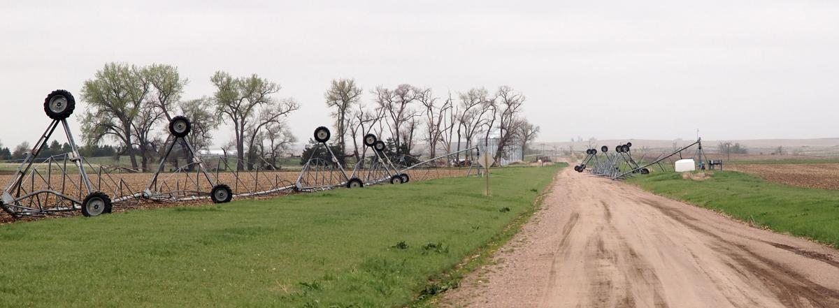 Overturned pivots near Bridgeport