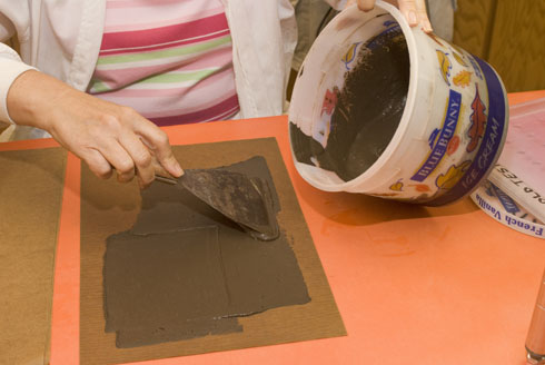 soil paste applied to paper