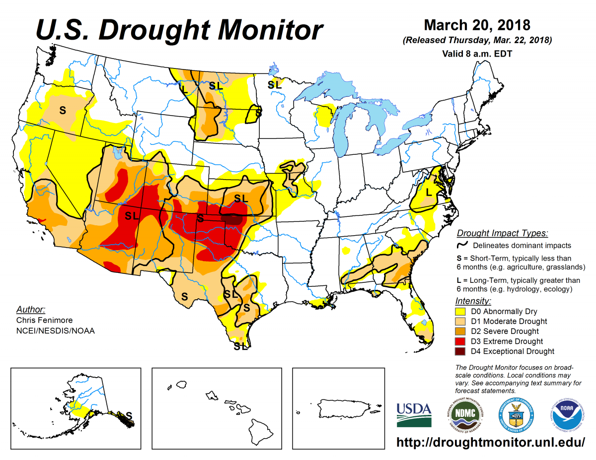 US Drought Monitor March 20, 2018