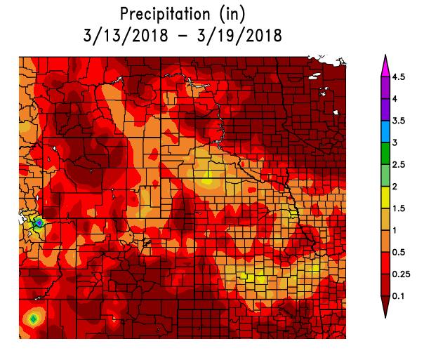 Precipitation in the High Plains Region March 13-19, 2018