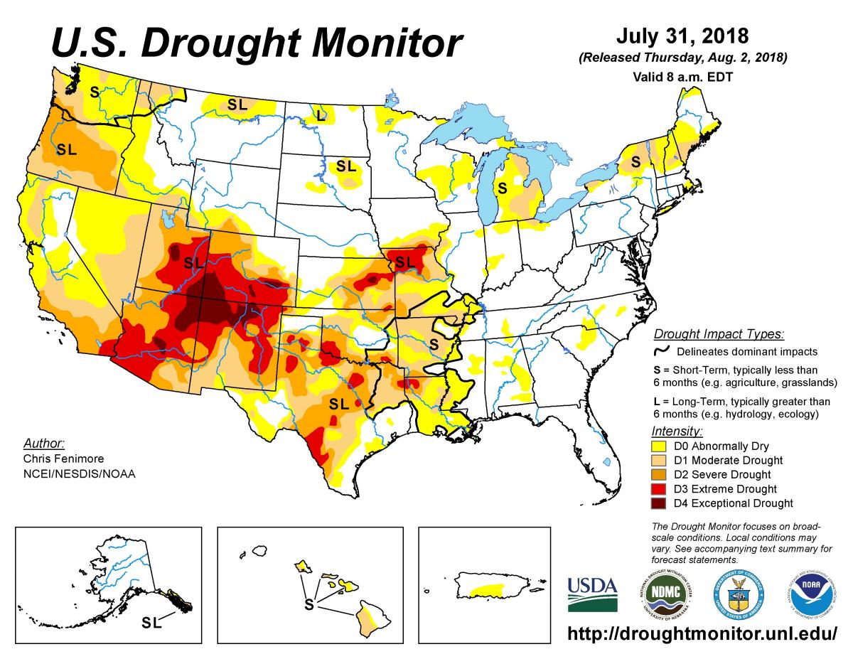 US Drought Monitor Map for 7-31-18