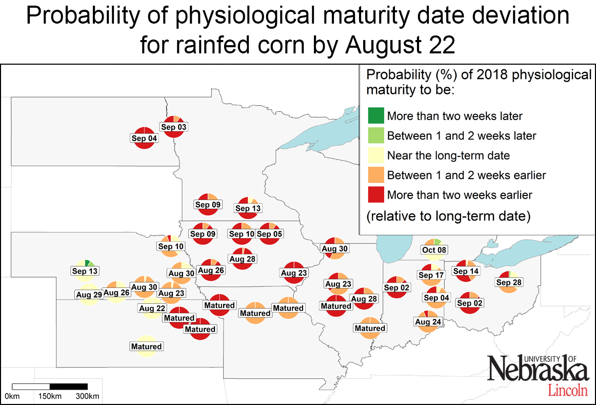 Map indicating estimated corn maturity of rainfed sites as of August 22, 2018