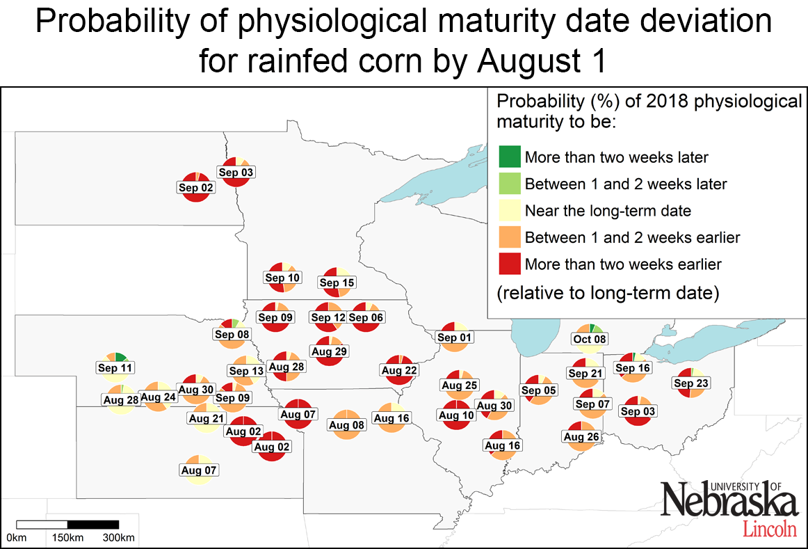 Map indicating estimated corn maturity of various sites as of July 31, 2018
