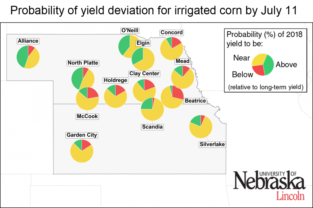 Map of irrigated corn yield deviation 7-11-18