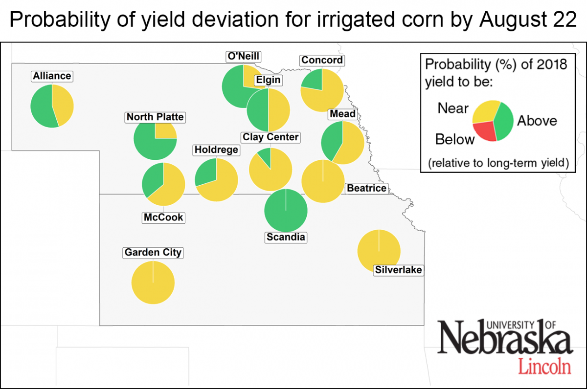 Map showing irrigated corn deviation by site