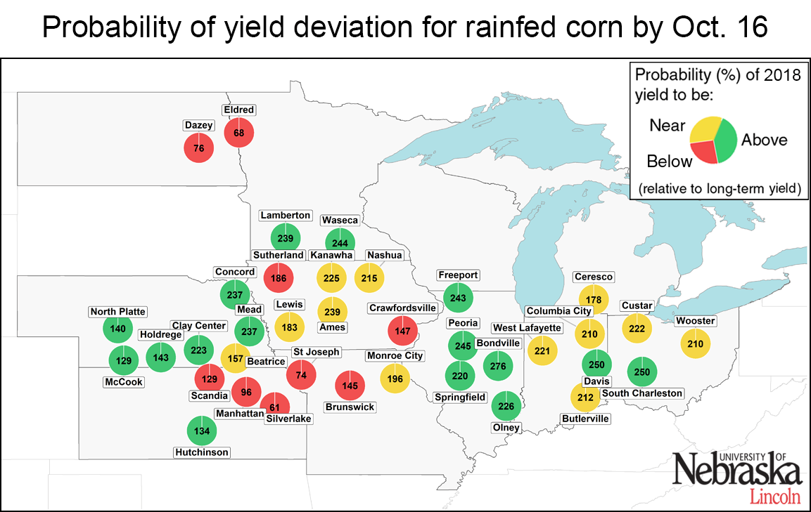 Map showing rainfed corn deviation by site