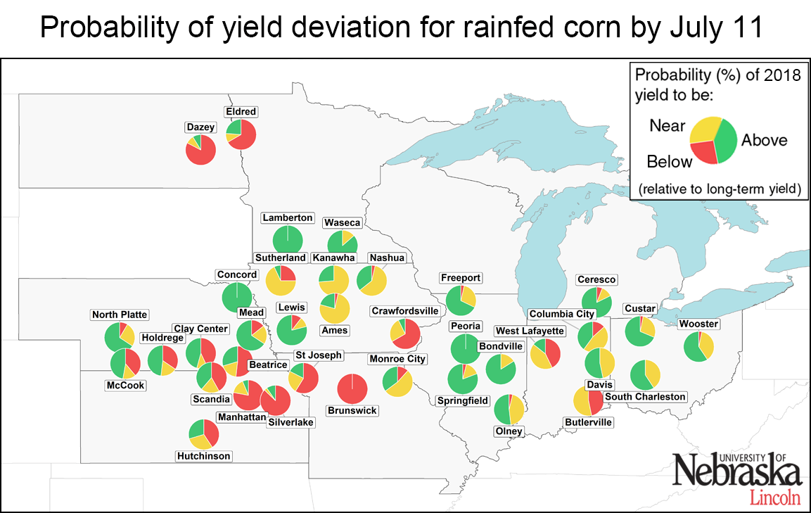 Estimated rainfed corn yield deviations for normal as of July 2018